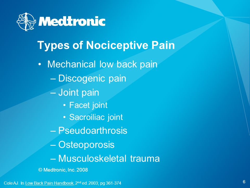 Types of Nociceptive Pain