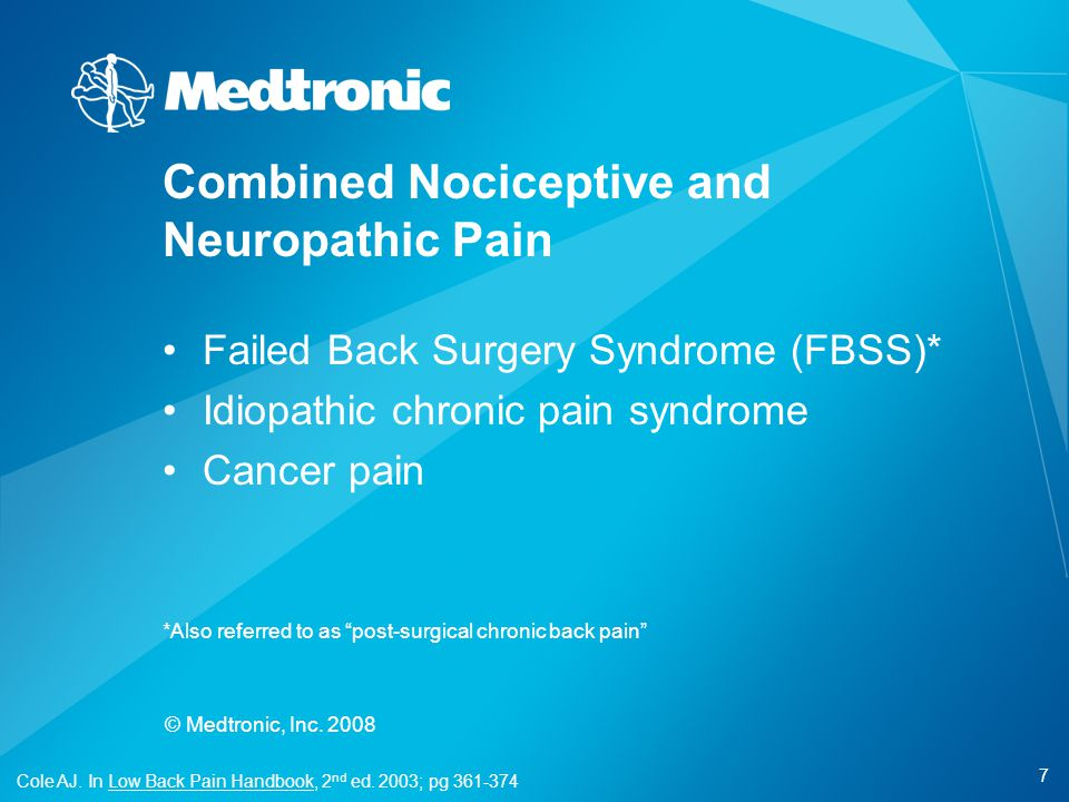 Combined Nociceptive and Neuropathic Pain