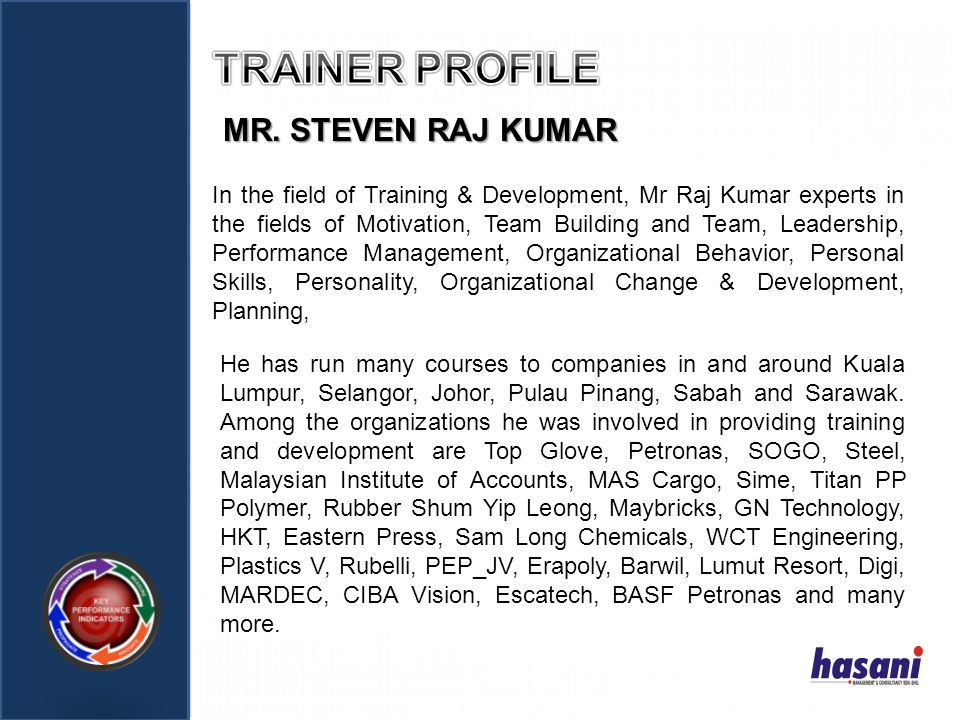 TRAINER PROFILE MR. STEVEN RAJ KUMAR