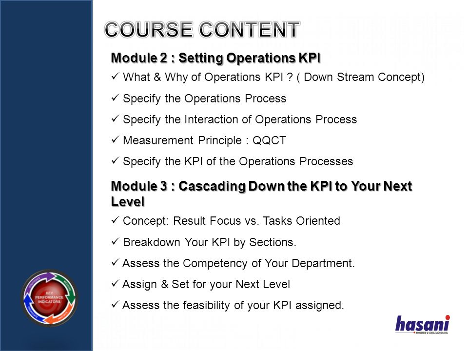COURSE CONTENT Module 2 : Setting Operations KPI