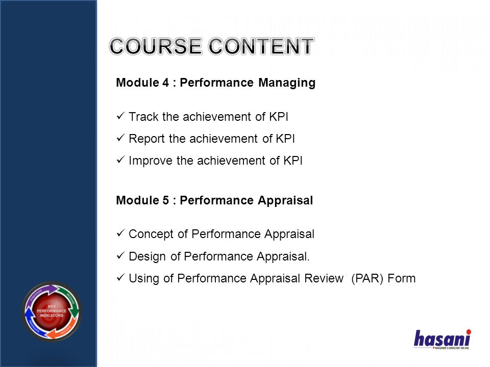 COURSE CONTENT Module 4 : Performance Managing