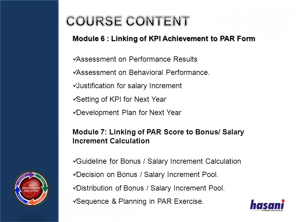 COURSE CONTENT Module 6 : Linking of KPI Achievement to PAR Form