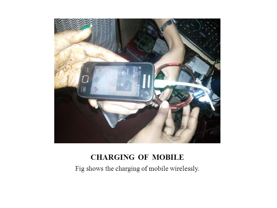 Fig shows the charging of mobile wirelessly.