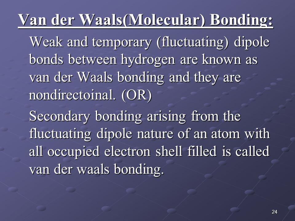 Van der Waals(Molecular) Bonding: