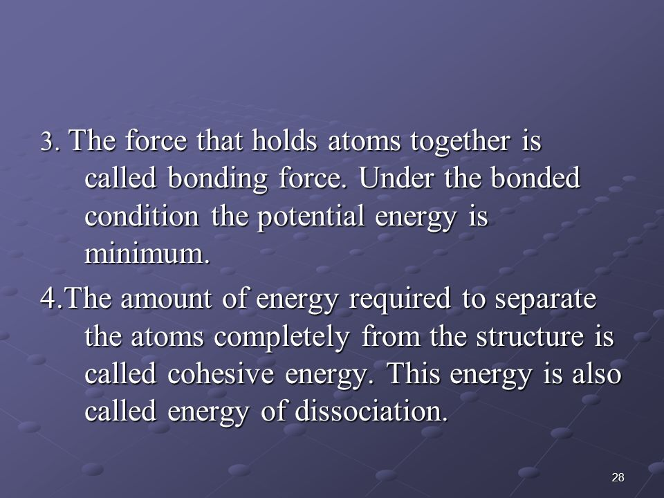 3. The force that holds atoms together is called bonding force