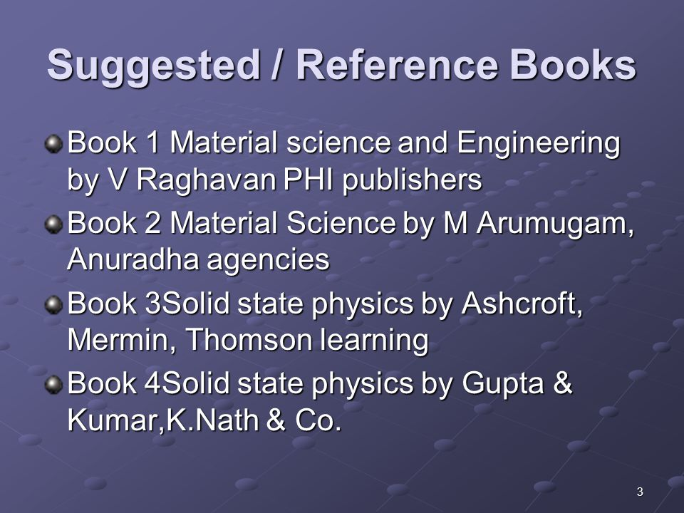 Suggested / Reference Books