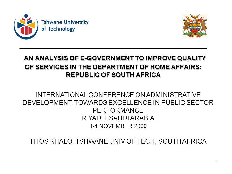 TITOS KHALO, TSHWANE UNIV OF TECH, SOUTH AFRICA