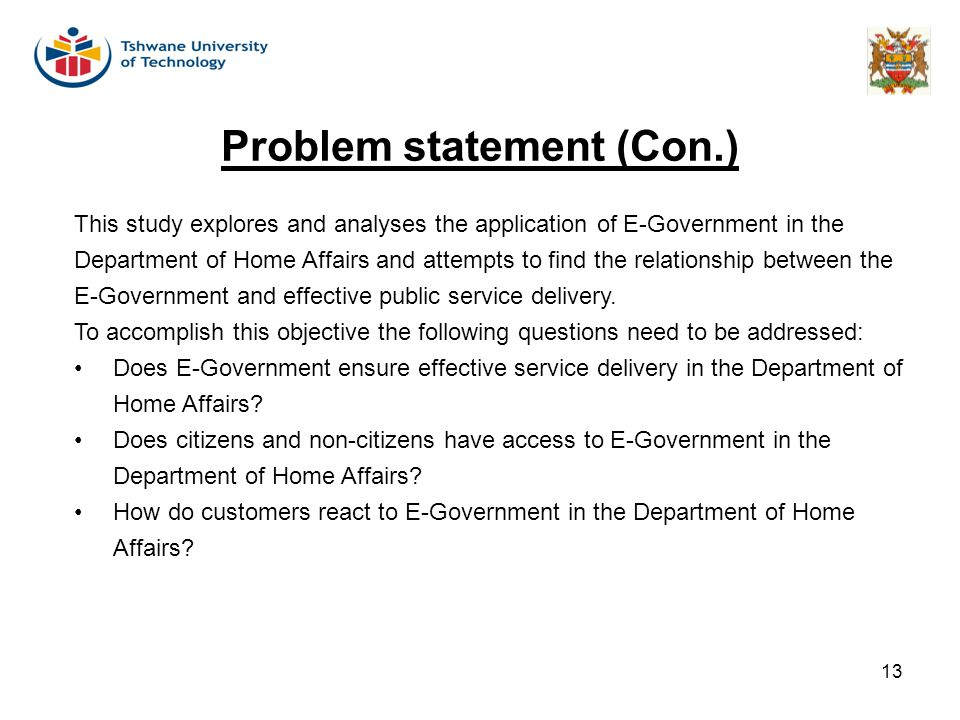 Problem statement (Con.)