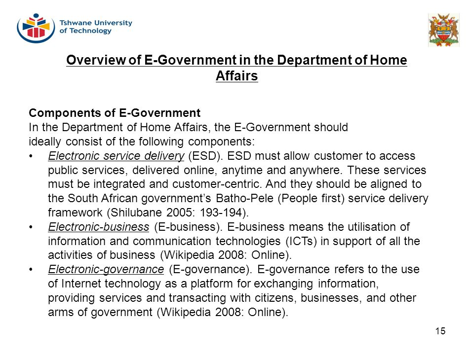 Overview of E-Government in the Department of Home Affairs