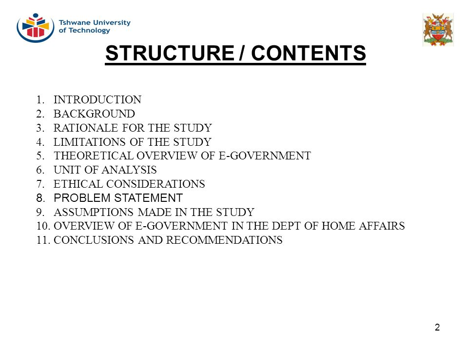 STRUCTURE / CONTENTS INTRODUCTION BACKGROUND RATIONALE FOR THE STUDY