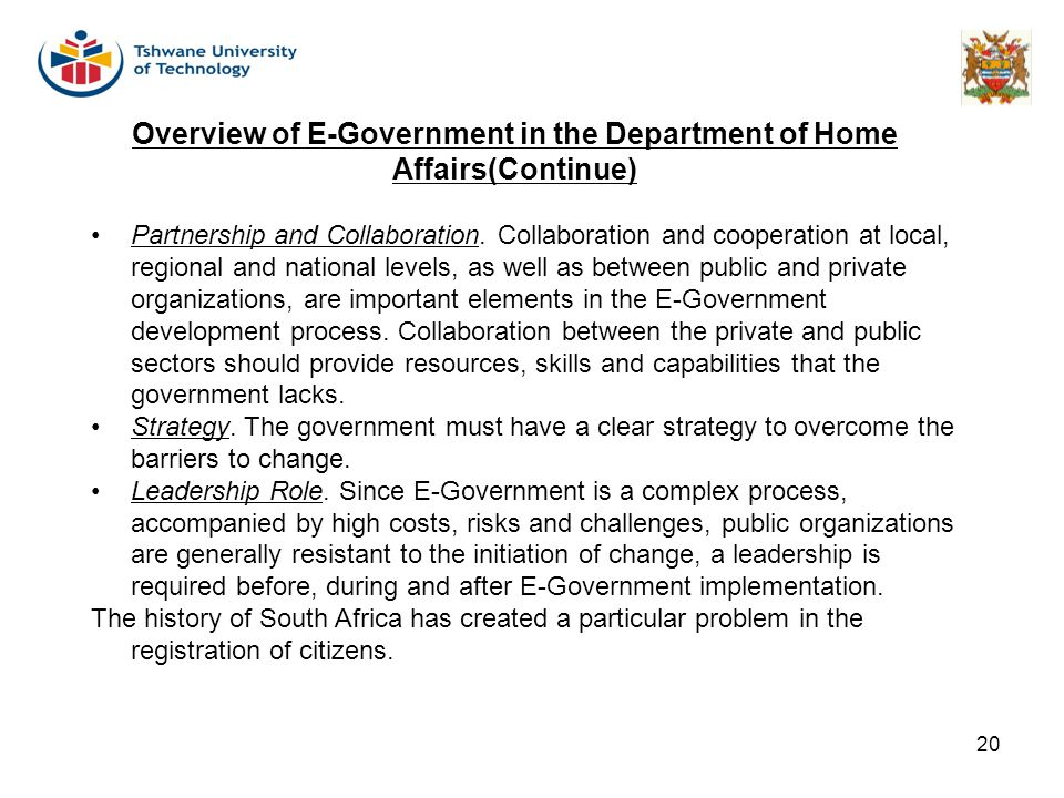 Overview of E-Government in the Department of Home Affairs(Continue)
