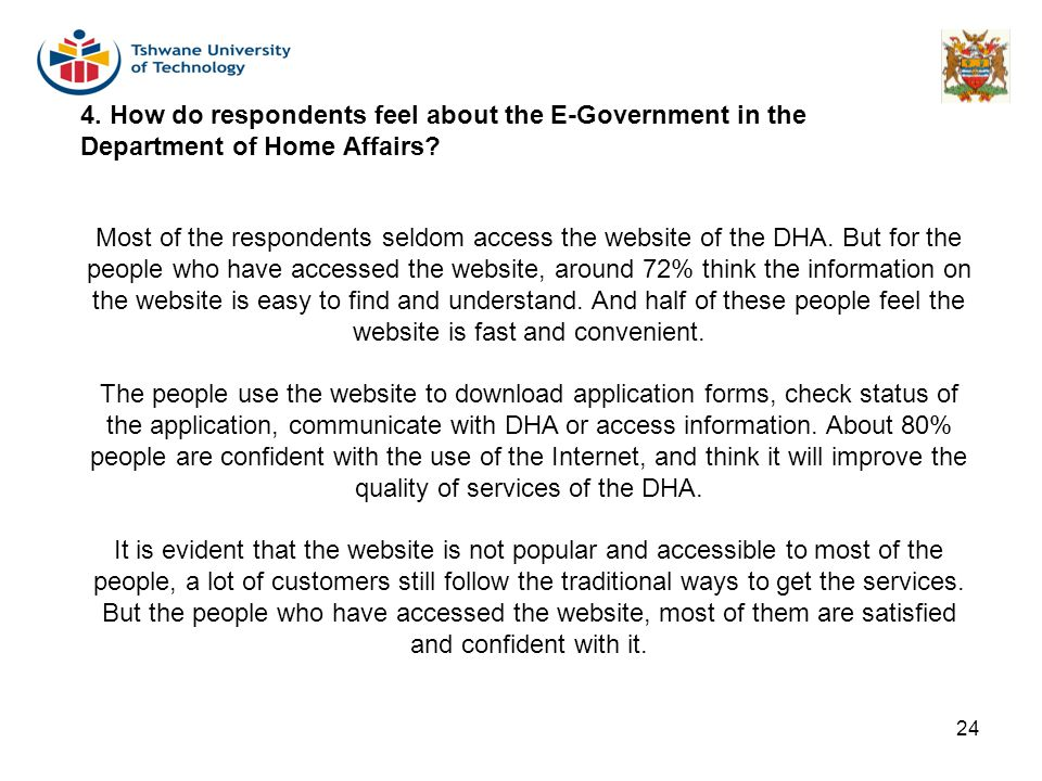 4. How do respondents feel about the E-Government in the Department of Home Affairs