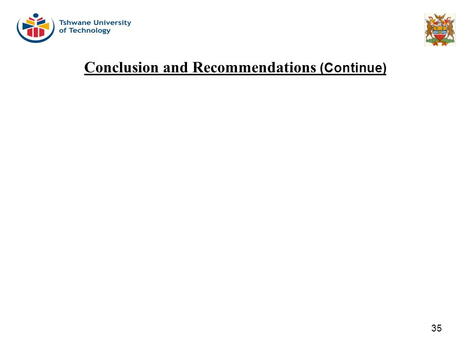 Conclusion and Recommendations (Continue)