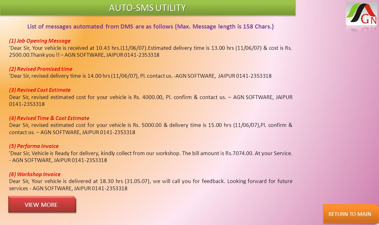 AUTO-SMS UTILITY List of messages automated from DMS are as follows (Max. Message length is 158 Chars.)
