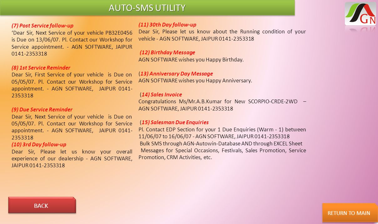 AUTO-SMS UTILITY BACK (11) 30th Day follow-up