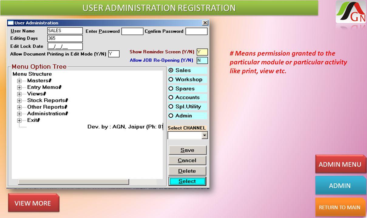 USER ADMINISTRATION REGISTRATION