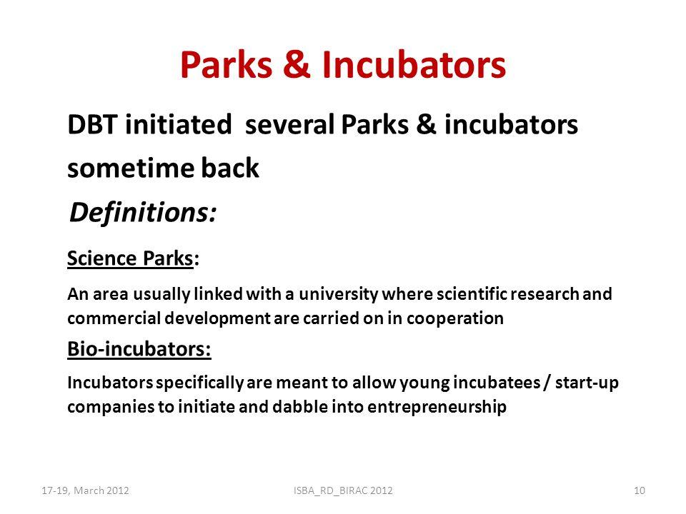 Parks & Incubators DBT initiated several Parks & incubators