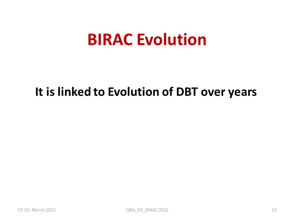 BIRAC Evolution It is linked to Evolution of DBT over years