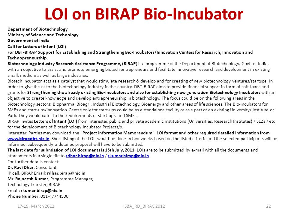 LOI on BIRAP Bio-Incubator