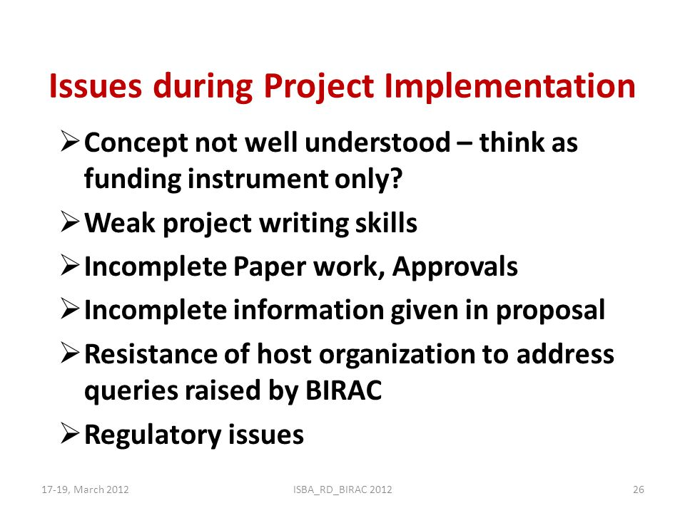 Issues during Project Implementation