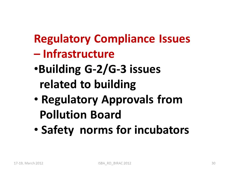 Regulatory Compliance Issues – Infrastructure Building G-2/G-3 issues