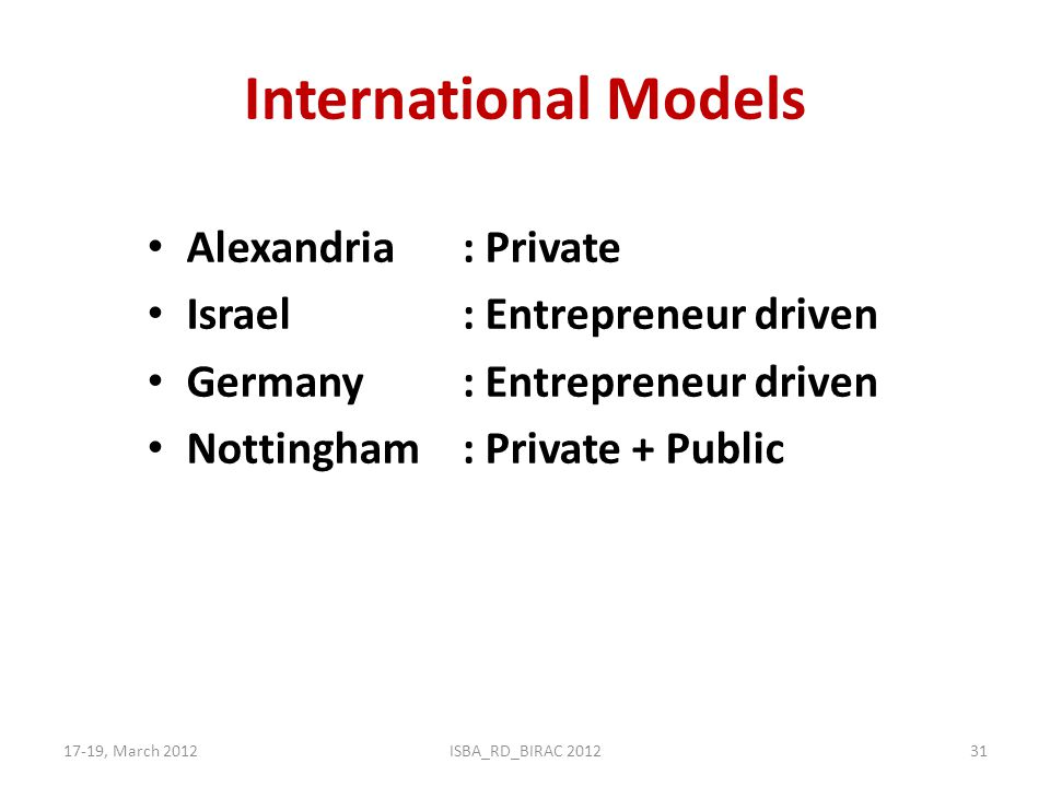 International Models Alexandria : Private Israel : Entrepreneur driven