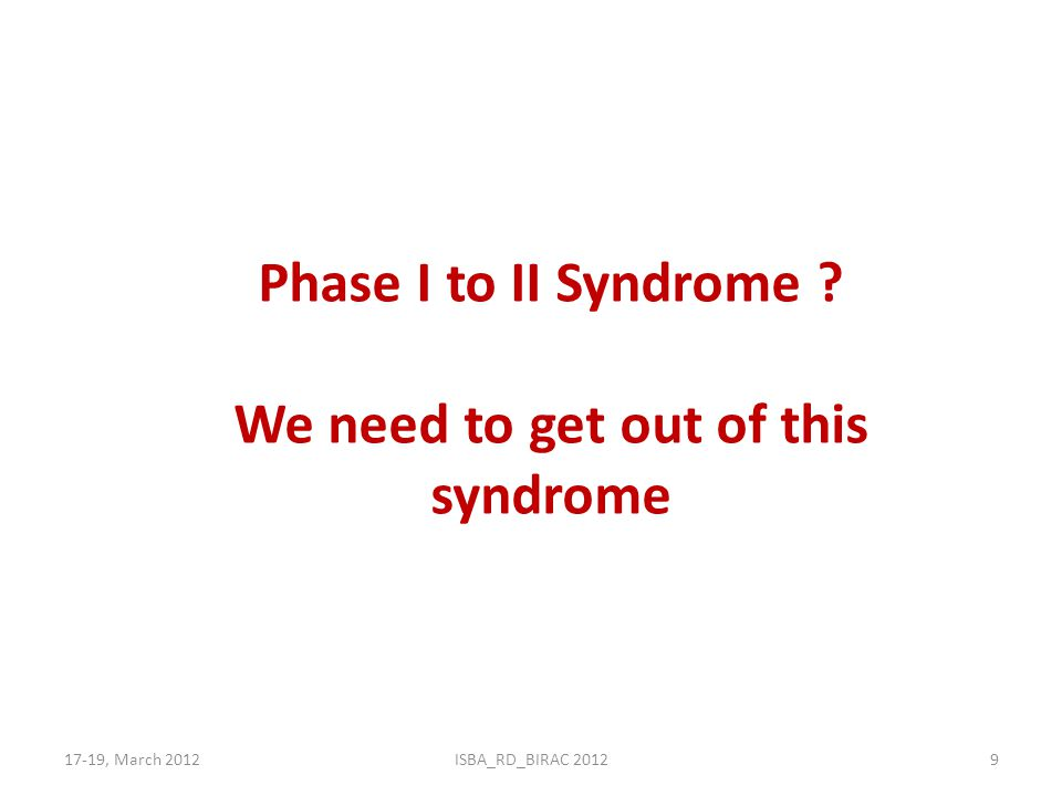 We need to get out of this syndrome