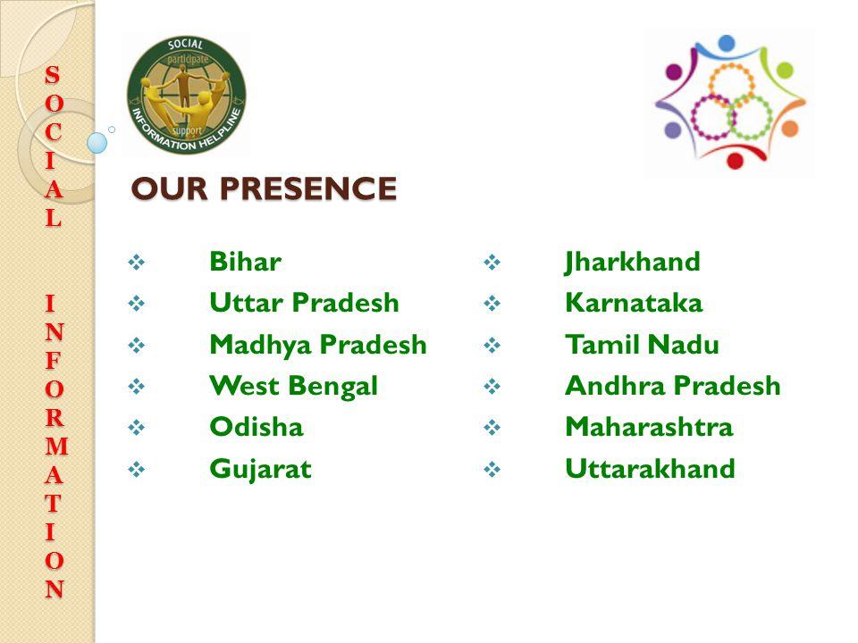 OUR PRESENCE Bihar Jharkhand Uttar Pradesh Karnataka Madhya Pradesh
