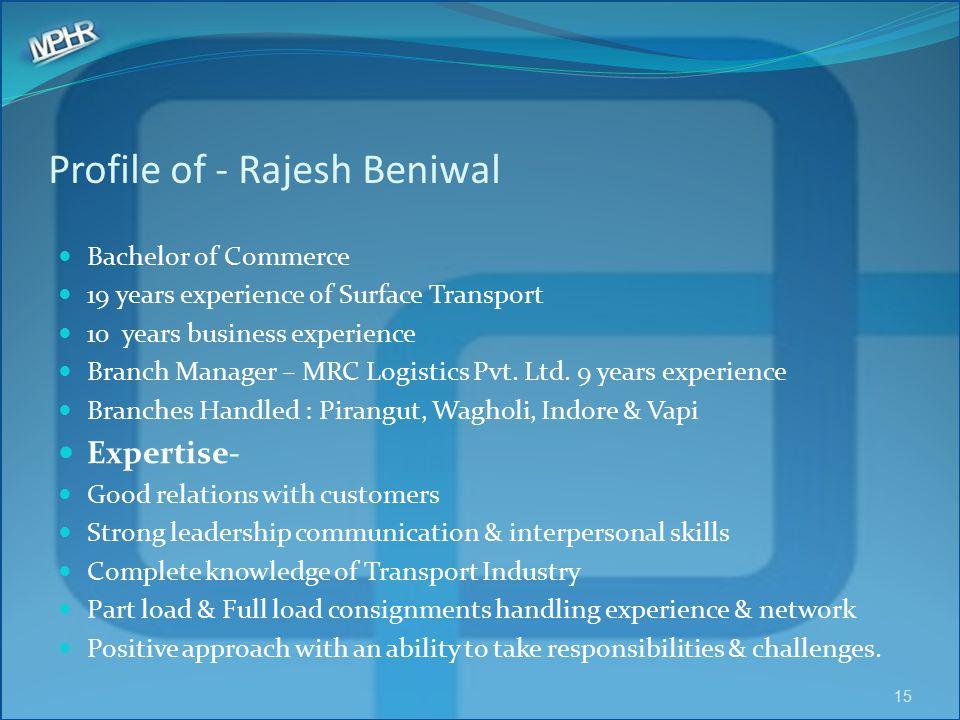 Profile of - Rajesh Beniwal