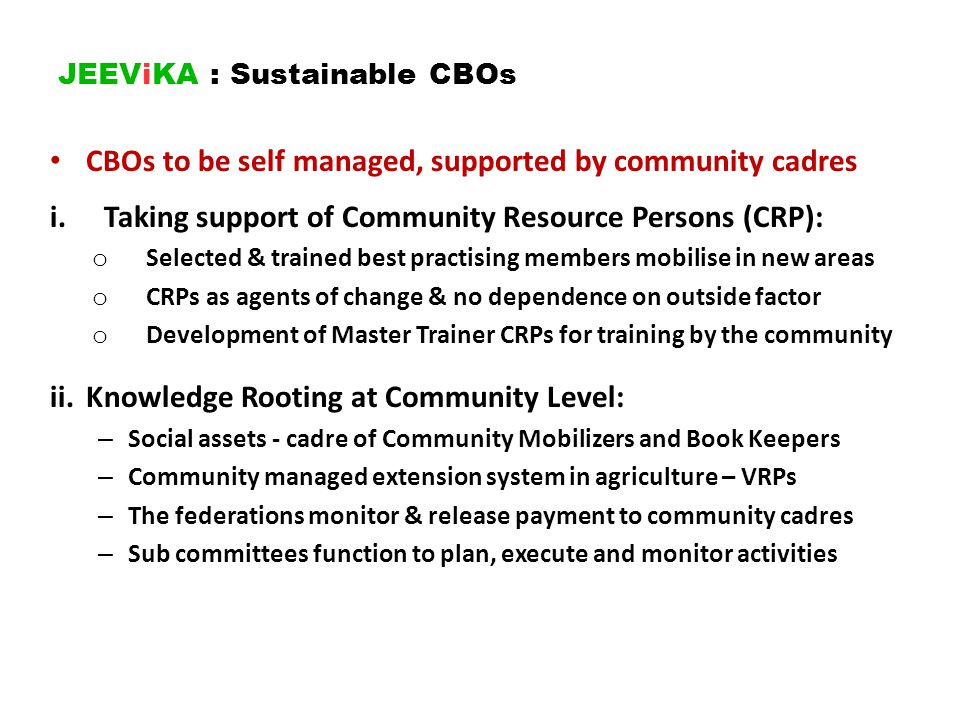 JEEViKA : Sustainable CBOs