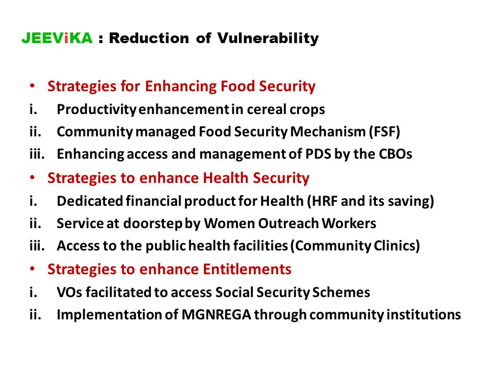 JEEViKA : Reduction of Vulnerability