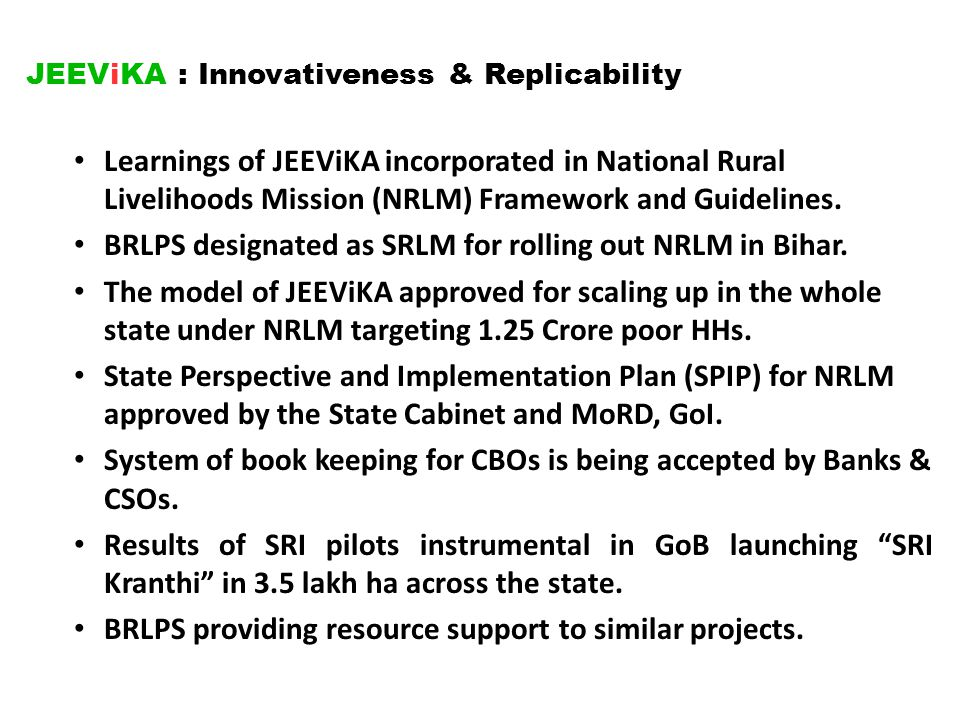 JEEViKA : Innovativeness & Replicability