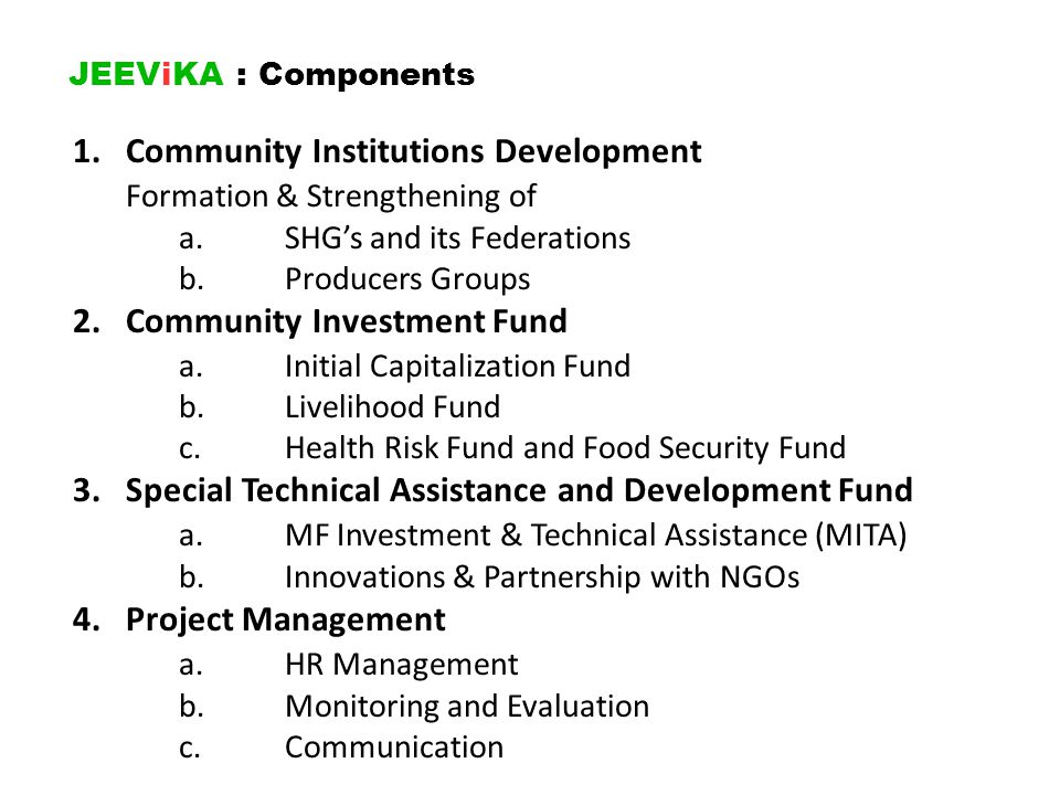 1. Community Institutions Development Formation & Strengthening of