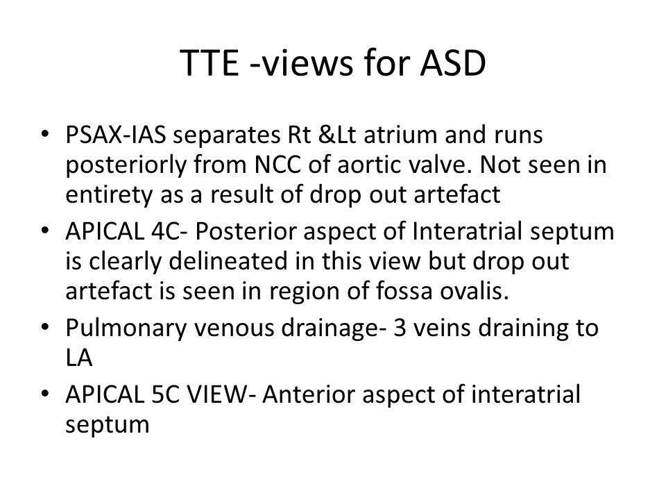 TTE -views for ASD