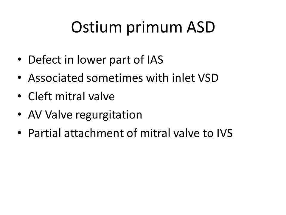 Ostium primum ASD Defect in lower part of IAS
