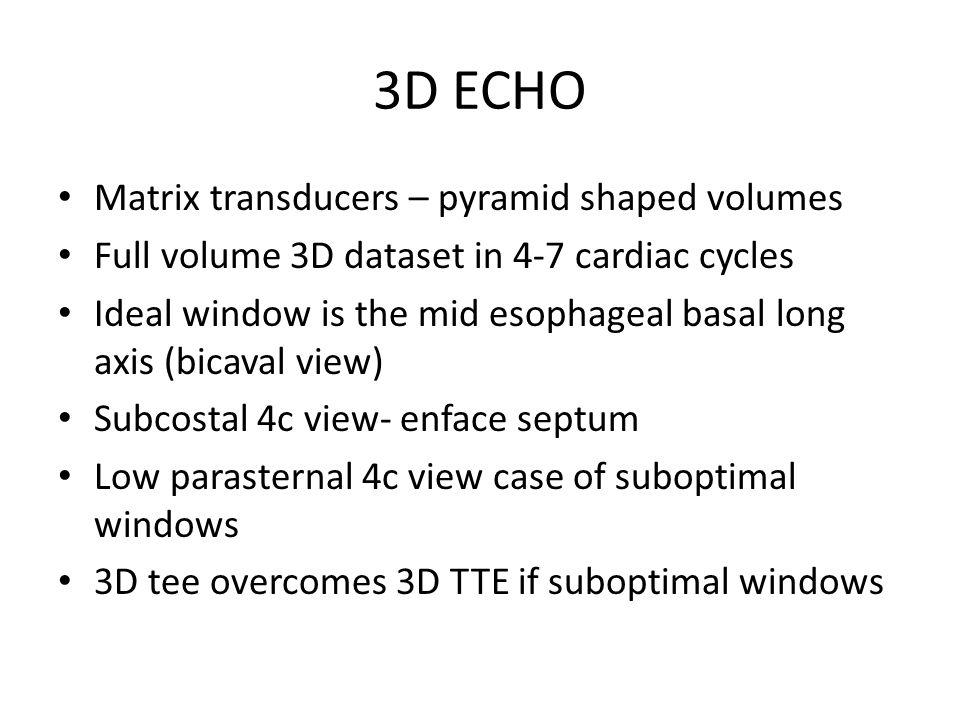 3D ECHO Matrix transducers – pyramid shaped volumes