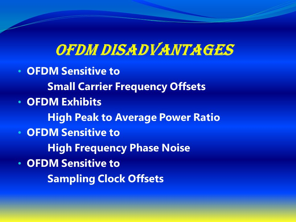 OFDM Disadvantages OFDM Sensitive to Small Carrier Frequency Offsets