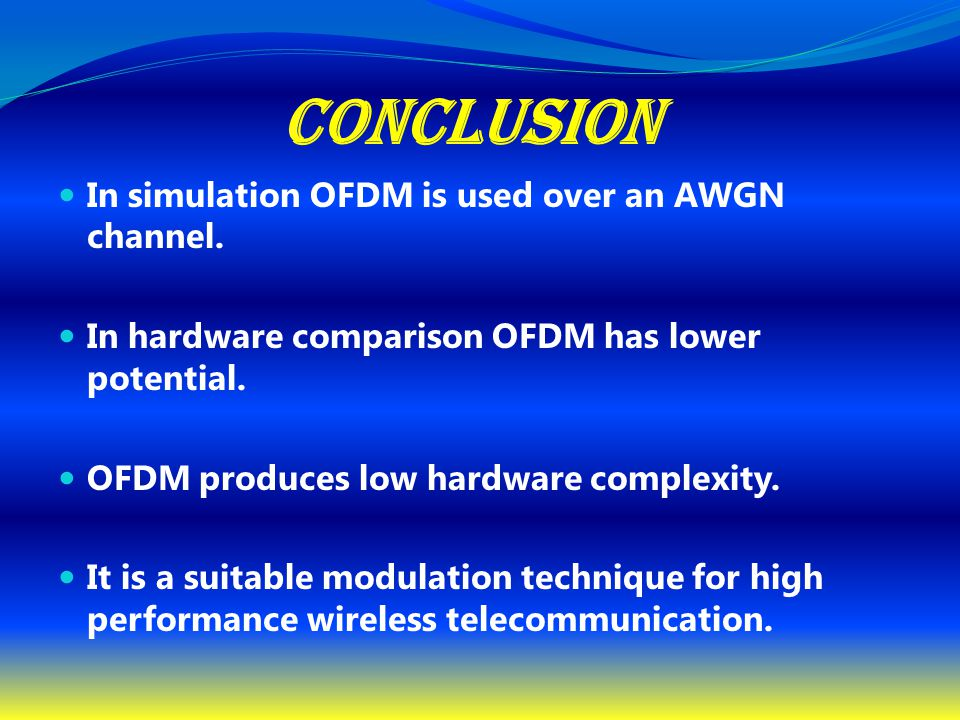 CONCLUSION In simulation OFDM is used over an AWGN channel.
