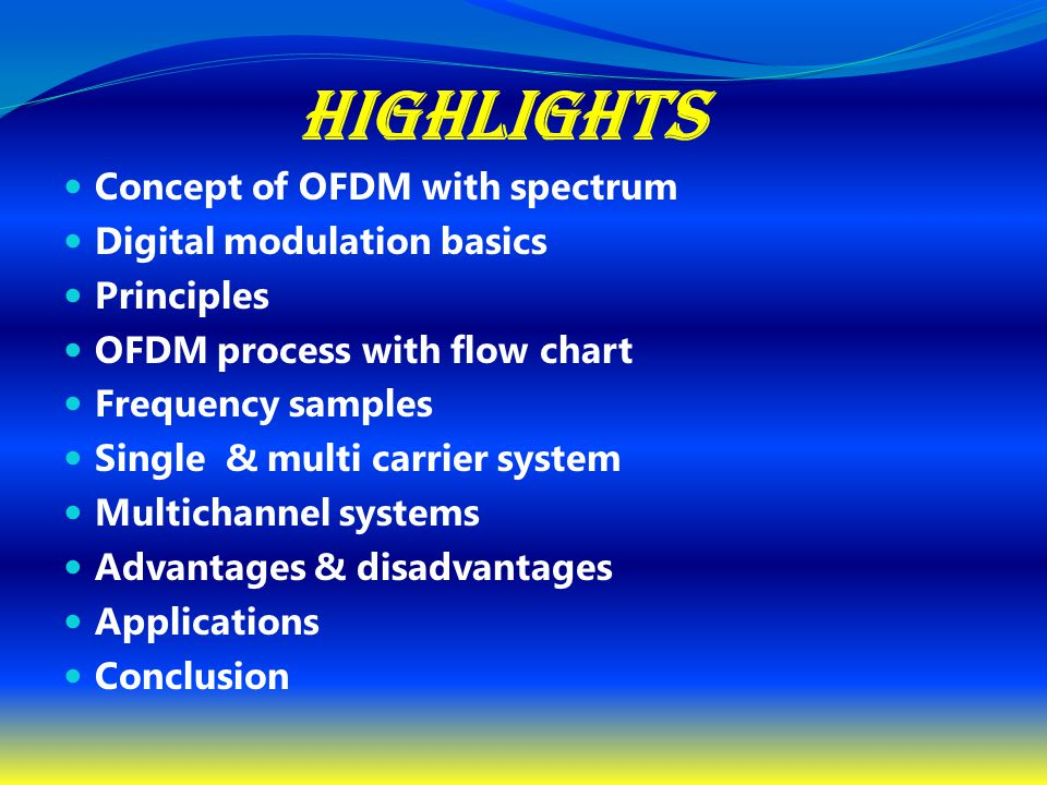 Highlights Concept of OFDM with spectrum Digital modulation basics