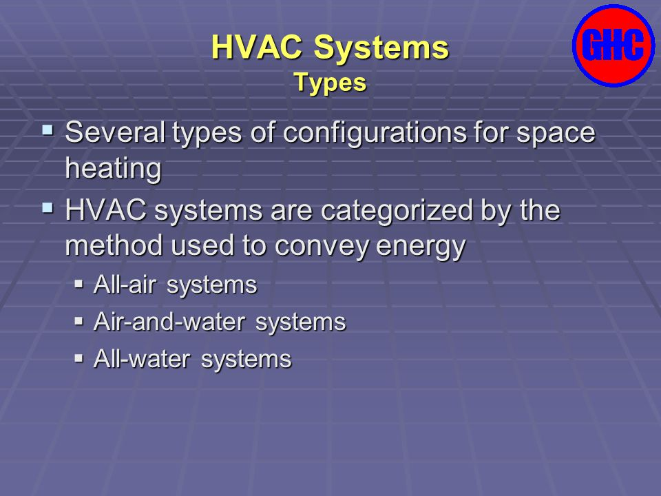 HVAC Systems Types Several types of configurations for space heating