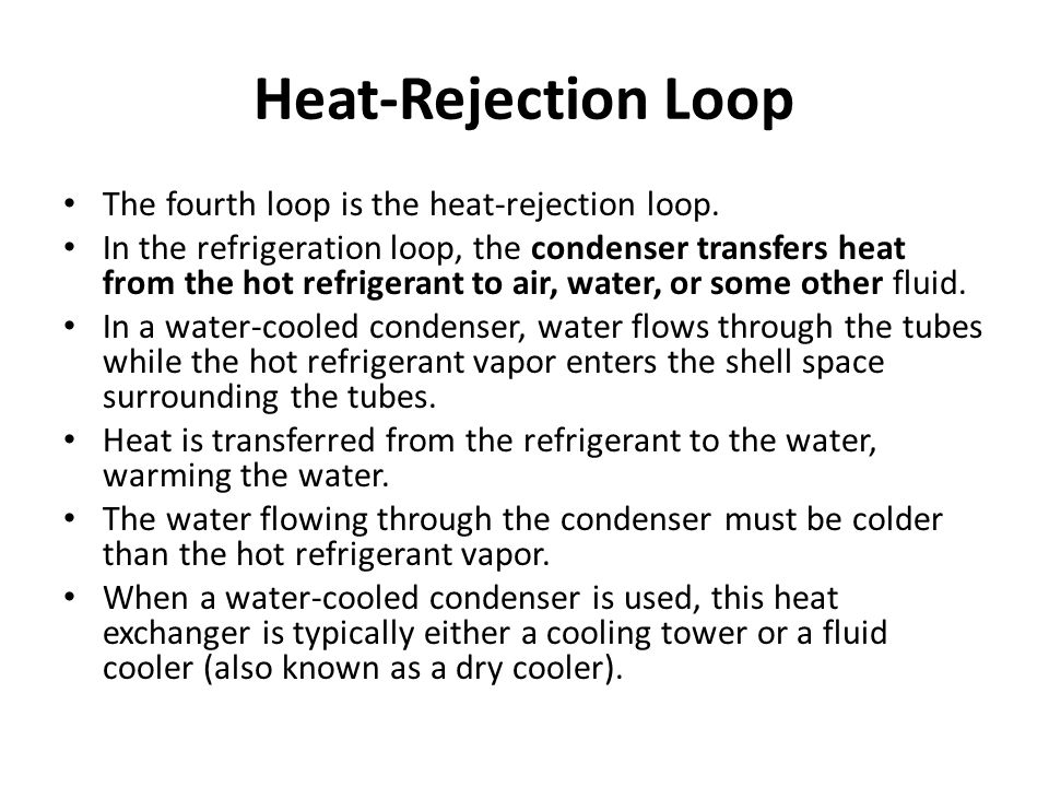 Heat-Rejection Loop The fourth loop is the heat-rejection loop.