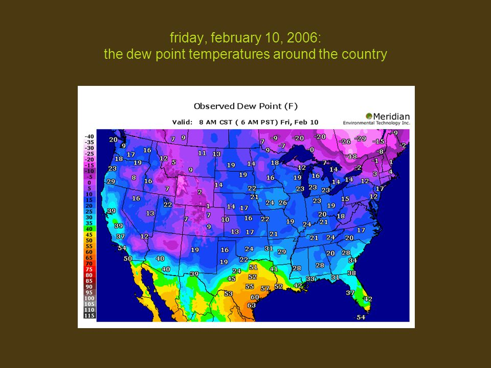 friday, february 10, 2006: the dew point temperatures around the country