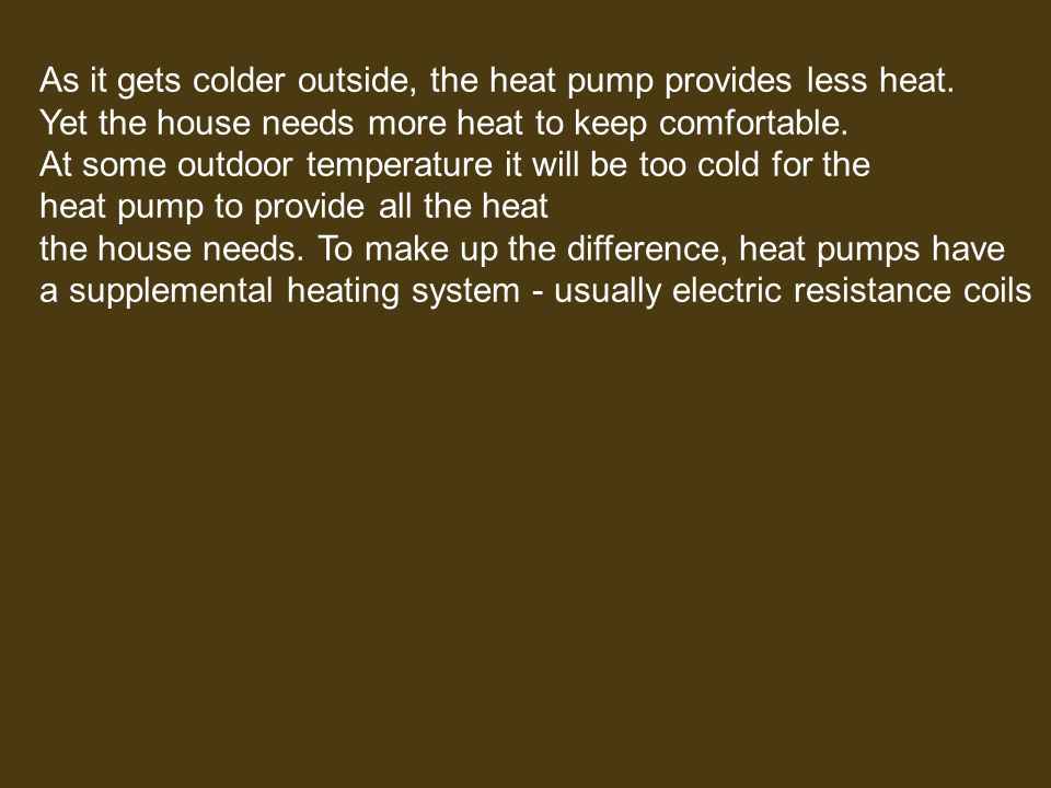 As it gets colder outside, the heat pump provides less heat.