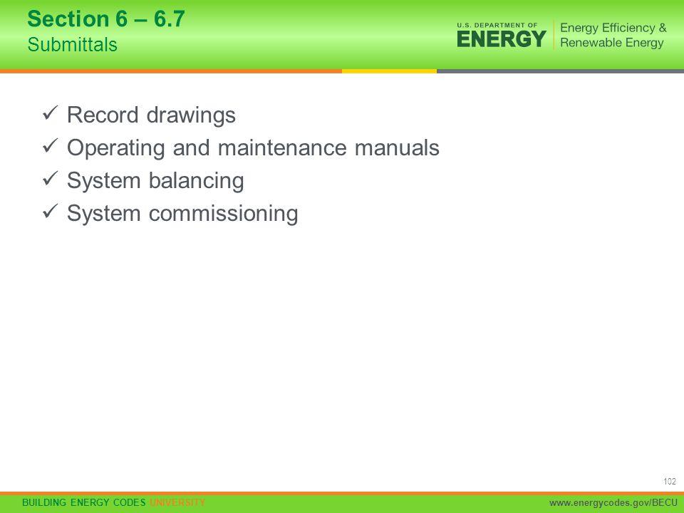 Operating and maintenance manuals System balancing