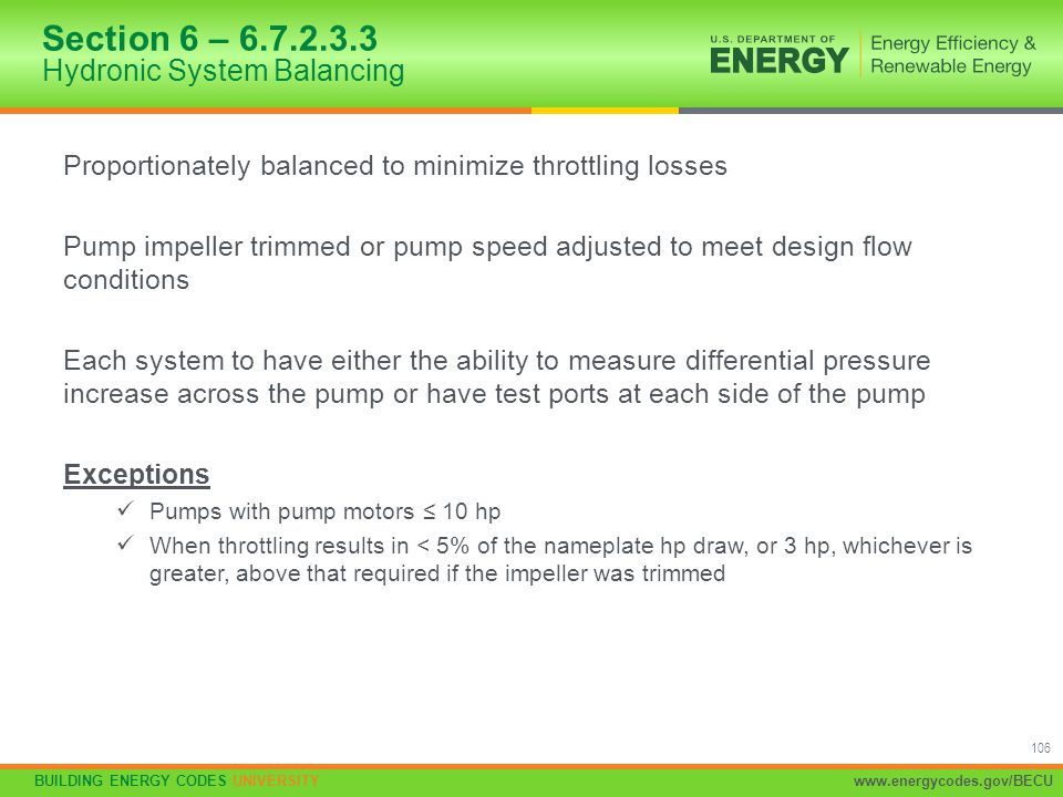 Section 6 – 6.7.2.3.3 Hydronic System Balancing