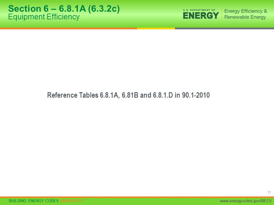Section 6 – 6.8.1A (6.3.2c) Equipment Efficiency