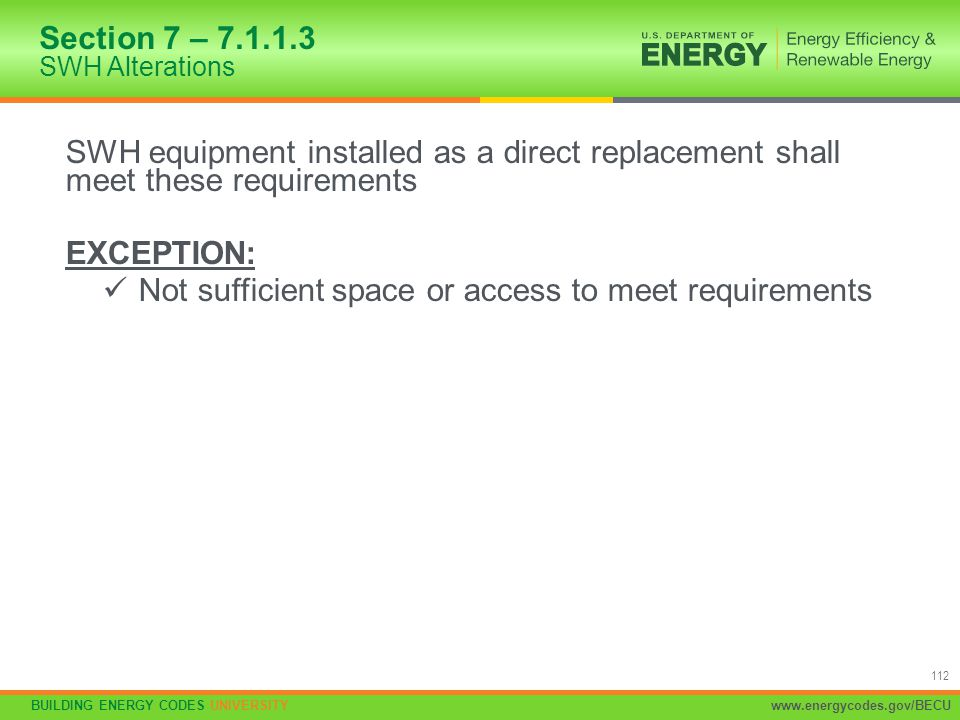 Section 7 – 7.1.1.3 SWH Alterations