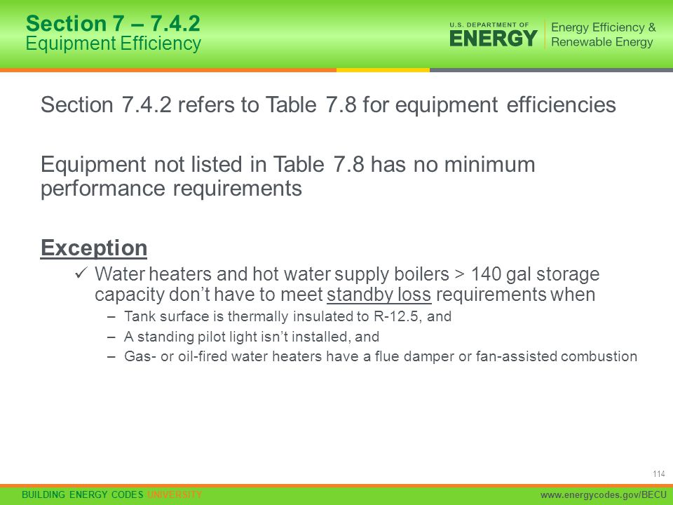 Section 7 – 7.4.2 Equipment Efficiency