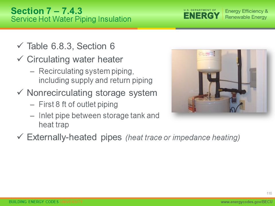 Section 7 – 7.4.3 Service Hot Water Piping Insulation