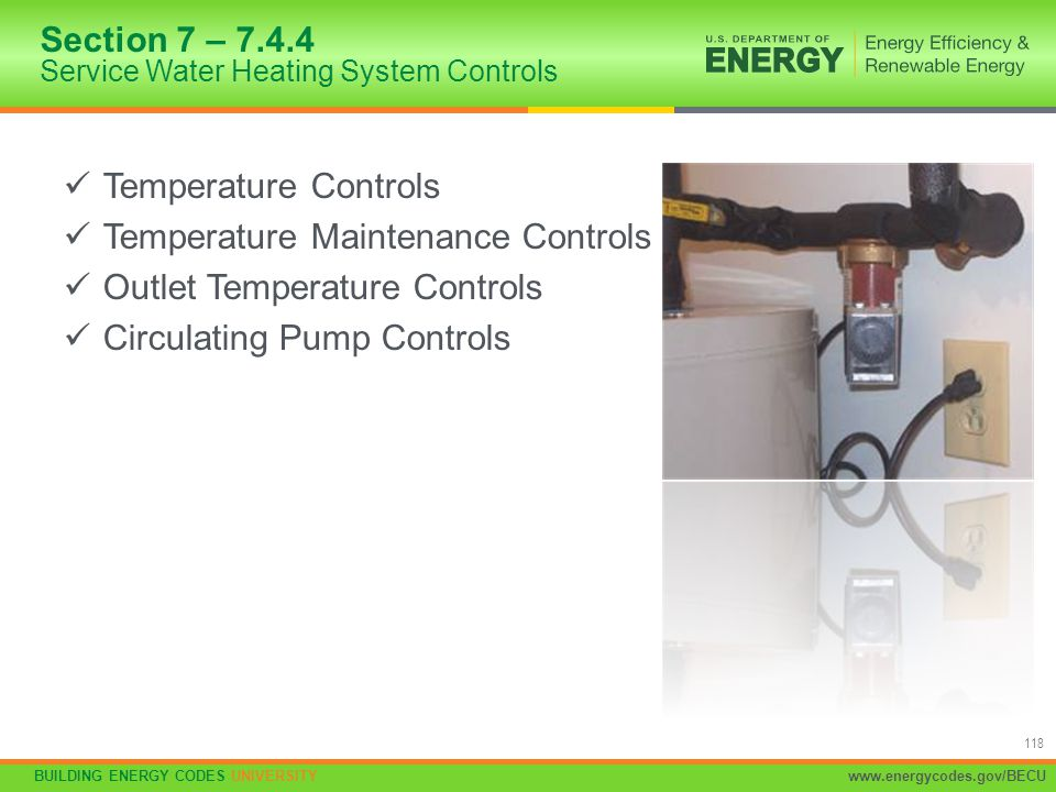 Section 7 – 7.4.4 Service Water Heating System Controls